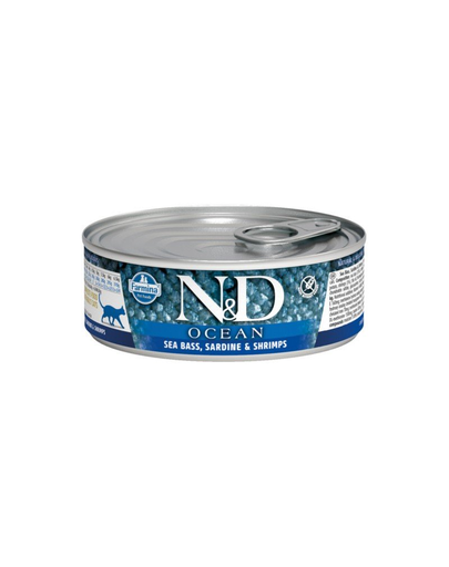 FARMINA N&D Hrană pentru pisici - biban, sardine și creveți - 80g imagine
