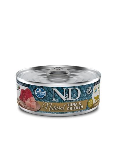 FARMINA N&D Hrană umedă pentru pisici - ton și pui - 80 g imagine