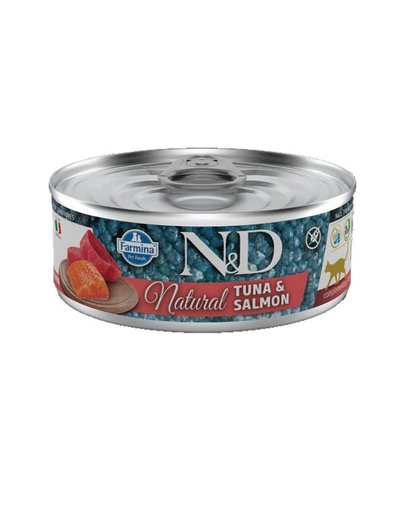 FARMINA N&D Hrană umedă pentru pisici - ton și somon - 80 g imagine